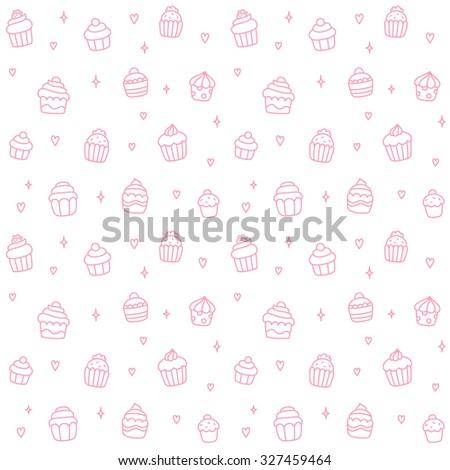 Seamless pattern of cute cartoon hand drawn cupcakes. - stock vector
