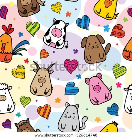 Seamless pattern of Cute Farm Animals - stock vector