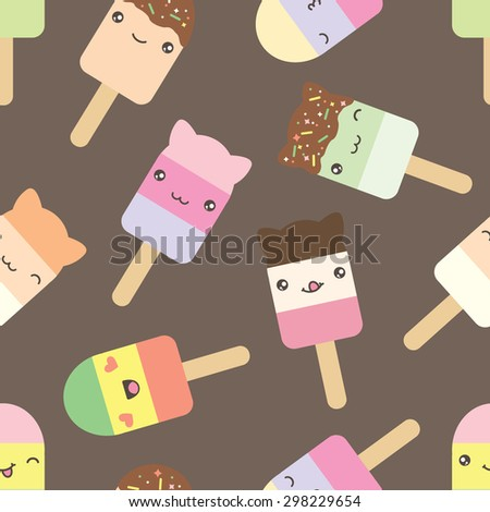 Seamless pattern of cute kawaii style ice cream bars . Decorative bright colorful design elements in doodle Japanese style isolated on grey background. Vector illustration. - stock vector