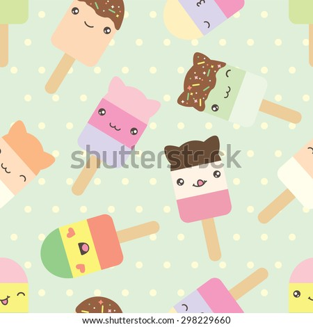 Seamless pattern of cute kawaii style ice cream bars . Decorative bright colorful design elements in doodle Japanese style isolated on retro polka dot background. Vector illustration. - stock vector