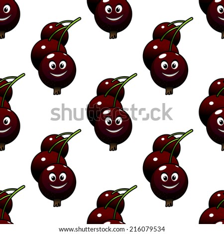 Seamless pattern of cute ripe cartoon currants with friendly smiles, for agriculture, food and  background design - stock vector