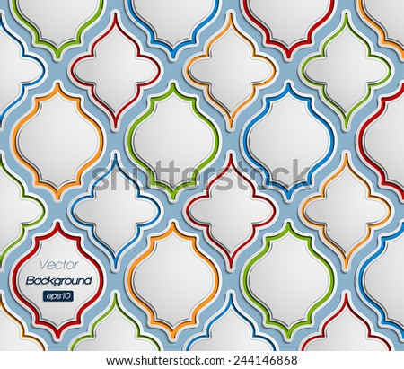 Seamless pattern of 3d colorful vintage elements - stock vector