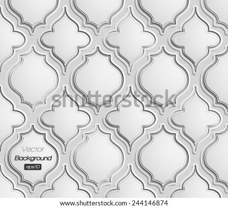 Seamless pattern of 3d grescale vintage elements - stock vector