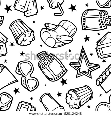 Seamless pattern of 3d movie elements and cinema objects in cartoon style.