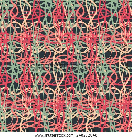 Seamless pattern of dark colored thread - stock vector
