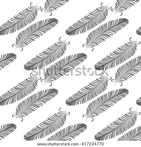 Seamless pattern of decorative animals feathers. Hand drawn vector art. Black feathers on a white background - stock vector