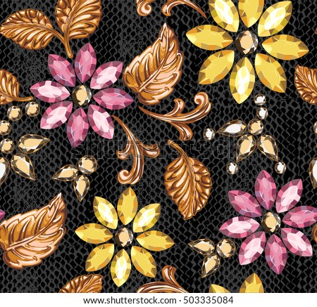 Seamless pattern of decorative crystal and gold elements on a python leather.