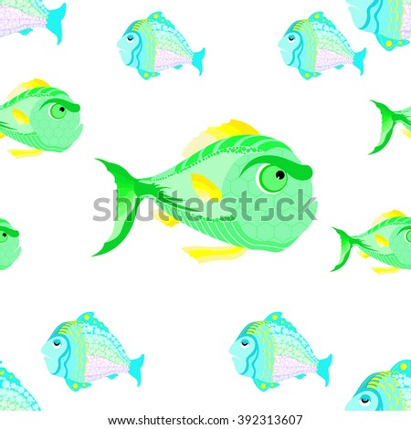 Seamless pattern of decorative fish. Can be used for wallpaper, pattern fills, web page background,surface textures.