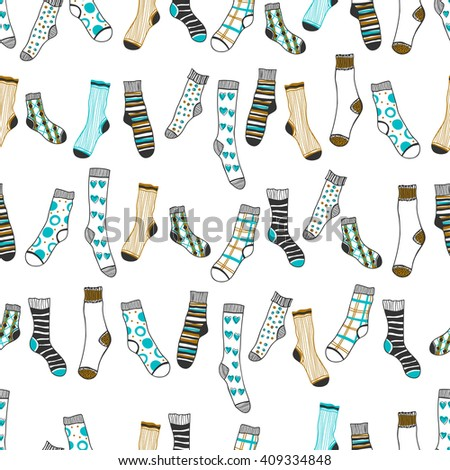 Seamless pattern of doddle socks on a white background. Clothing
