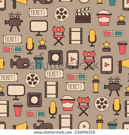 Seamless pattern of doodle movie design elements and cinema icons in flat style.  - stock vector