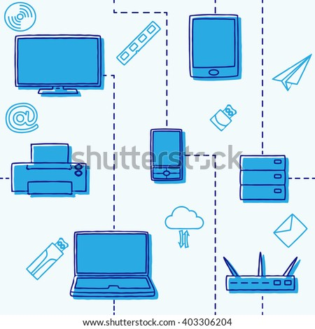 Seamless pattern of electronic gadgets for the media and the internet in blue. Vector illustration