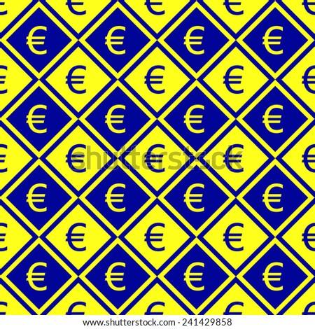 Seamless pattern of euro symbols. - stock vector