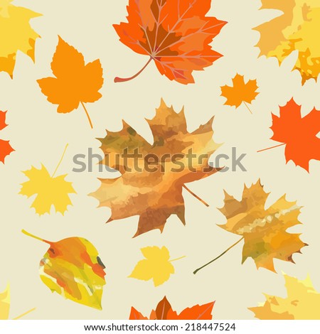 Seamless pattern of falling autumn leaves. Vector illustration - stock vector