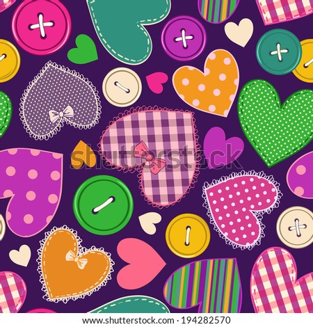 Seamless pattern of fancy colorful heart patchworks and buttons  - stock vector