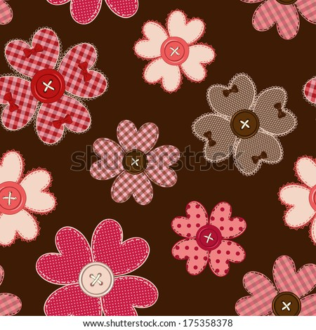 Seamless pattern of fancy flower patchworks and buttons - stock vector