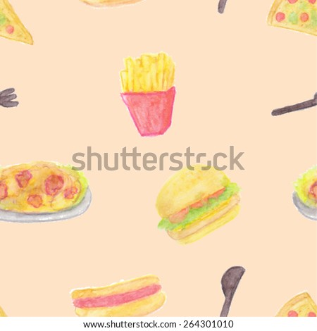 Seamless pattern of fast food - stock vector