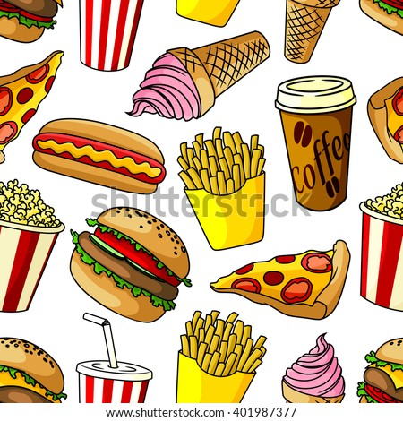 Seamless pattern of fast food with hamburger and pepperoni pizza, hot dog and french fries, coffee paper cup and soda drink, popcorn bucket and strawberry ice cream cone on white background