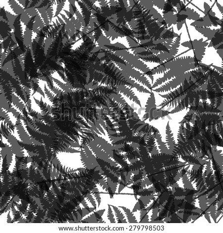 Seamless pattern of fern leaves. Vector illustration of jungle nature design. Black and white colors.
