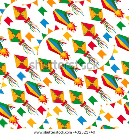 Seamless pattern of festa Junina village festival in Latin America. Icons set in bright color. Flat style decoration. - stock vector