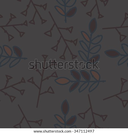 Seamless pattern  of floral  motif, doodles, branches, twigs, leaves. Hand drawn.