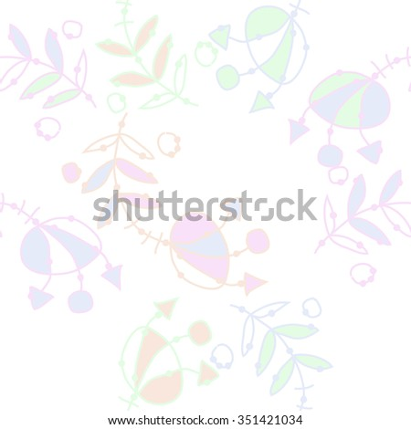 Seamless pattern  of floral motif, doodles, hole, spots,stamens,leaves. Hand drawn.