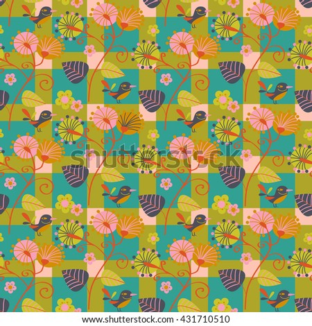 Seamless pattern of flowers and birds - stock vector