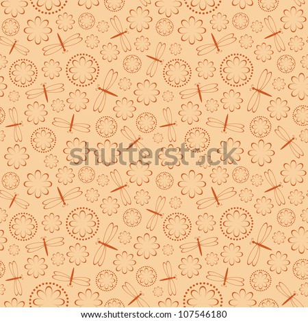 Seamless pattern of flowers and dragonflies. Vector illustration.