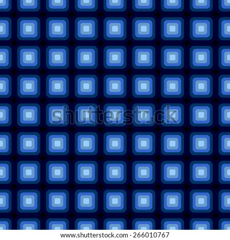 Seamless pattern of fluorescent optical illusion effect in blue on a black background