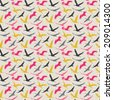 Seamless pattern of flying birds. Pastel background. Vector endless texture. Retro colors. - stock vector