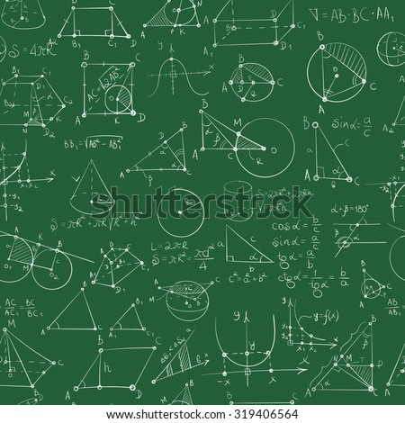 Seamless pattern of formulas and pictures concerning mathematics (geometry). EPS 8. - stock vector