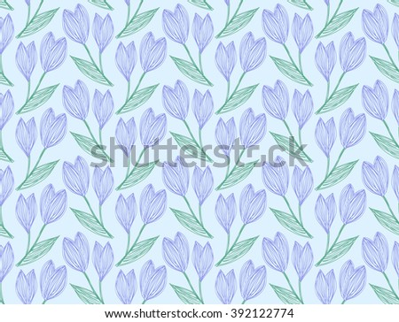 Seamless pattern of freehand drawing and hatched snowdrops on a light blue. Vector Eps10.  - stock vector