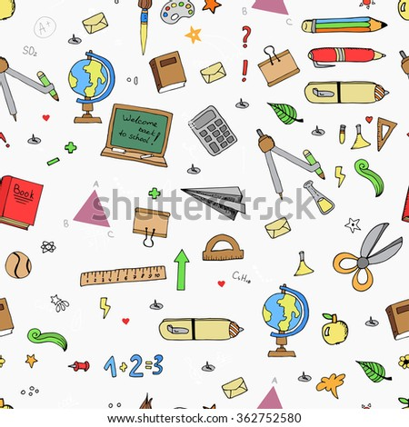Seamless pattern of Freehand drawing school items on the blackboard. Back to School.