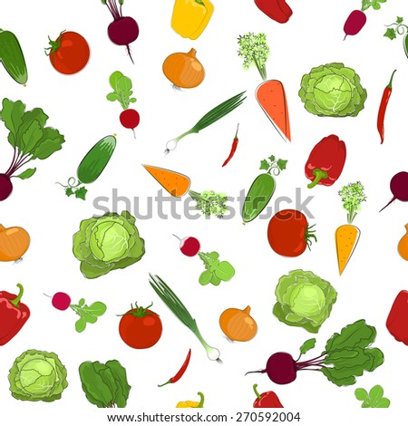 Seamless  pattern of fresh raw vegetables, healthy food,organic food, vector illustration - stock vector