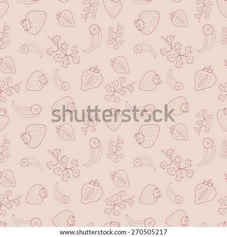 Seamless pattern of fruits. Background with hand drawn strawberries, banana and mint. Pastel seamless texture of food