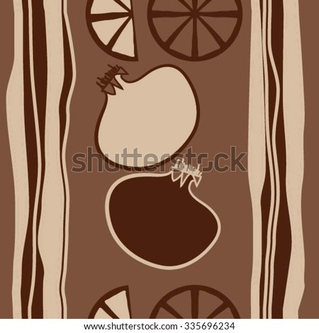 Seamless    pattern  of fruits motif, hole, pomegranates, citruses,slices, spots, stripes . Hand drawn.