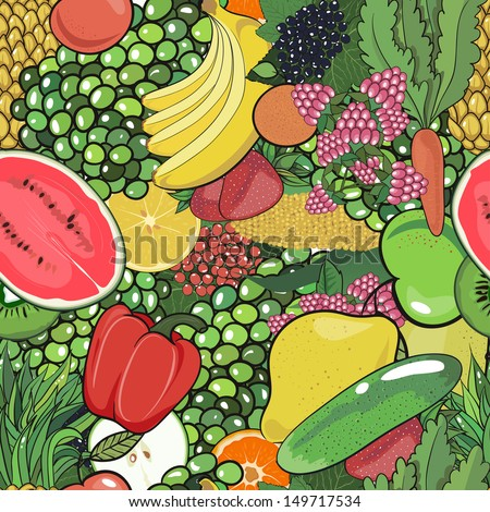 Seamless pattern of fruits, vegetables and berries. Bright wallpaper. Summer. Harvest. vector illustration - stock vector