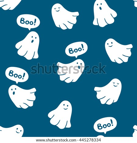 "Seamless pattern of funny ghosts saying ""Boo"". Vector scary background.  - stock vector"