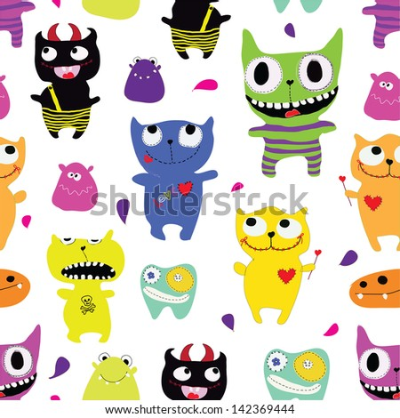 Seamless pattern of funny monsters .Seamless pattern can be used for wallpaper, pattern fills, web page background,surface textures