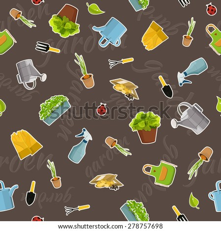 Seamless pattern of gardening objects - stock vector