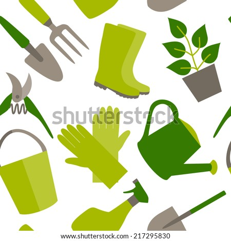 Seamless pattern of gardening tools  - stock vector