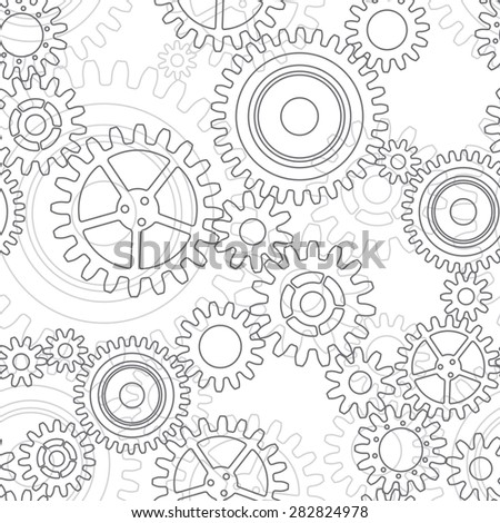 Seamless pattern of gear wheels in gray colors - stock vector