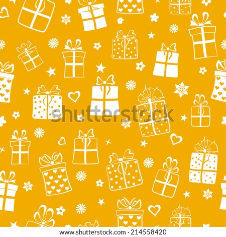 Seamless pattern of gift boxes, flowers and hearts, white on yellow - stock vector