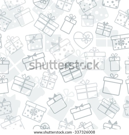 Seamless pattern of gift boxes, gray on white