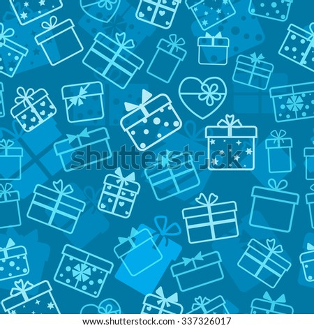 Seamless pattern of gift boxes, white on blue