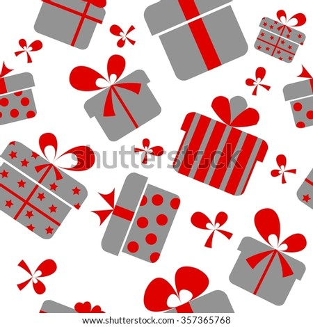 Seamless pattern of gifts and bows on a white background - stock vector