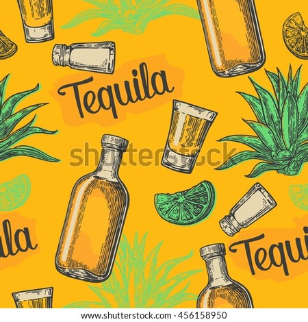 Seamless pattern of glass and bottle tequila, salt, cactus and lime on yellow background. Vintage vector engraving illustration for label, poster, web, invitation to party