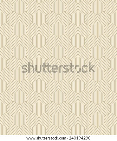 seamless pattern of gold colored geometrical outlines. - stock vector