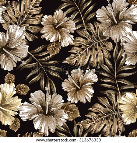 seamless pattern of gold leaves and flowers - stock vector