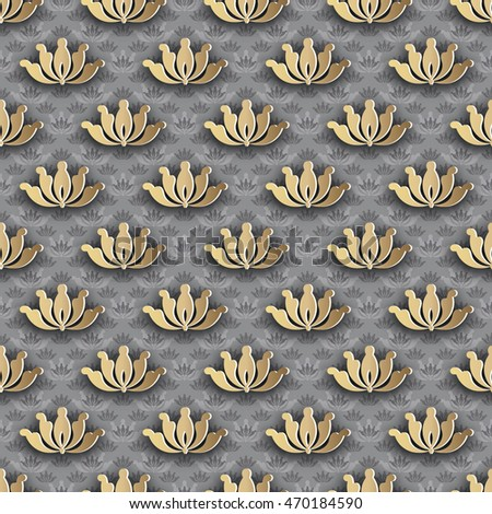 Seamless pattern of golden abstract floral symmetric Golden elements with shaddows. Best for cover