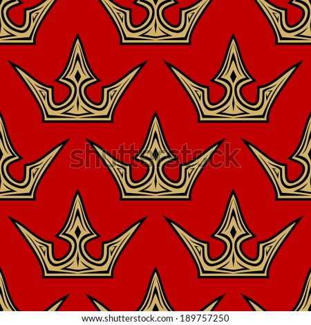 Seamless pattern of golden crowns on a royal red background in square format suitable for wallpaper, tiles and fabric design - stock vector